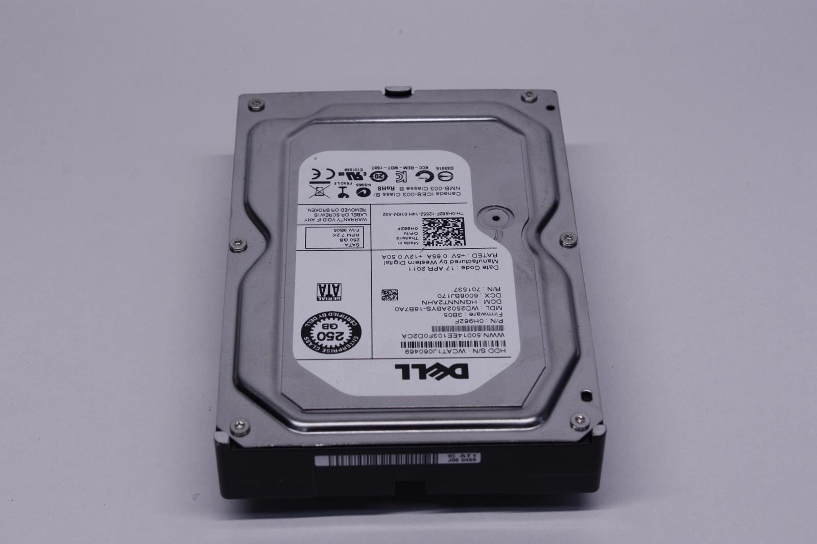 Dell Wd 250GB 7.2K RPM 3Gbp//s SATA 3.5 Inch Hard Drive H962f Wd2502abys-18b7a0