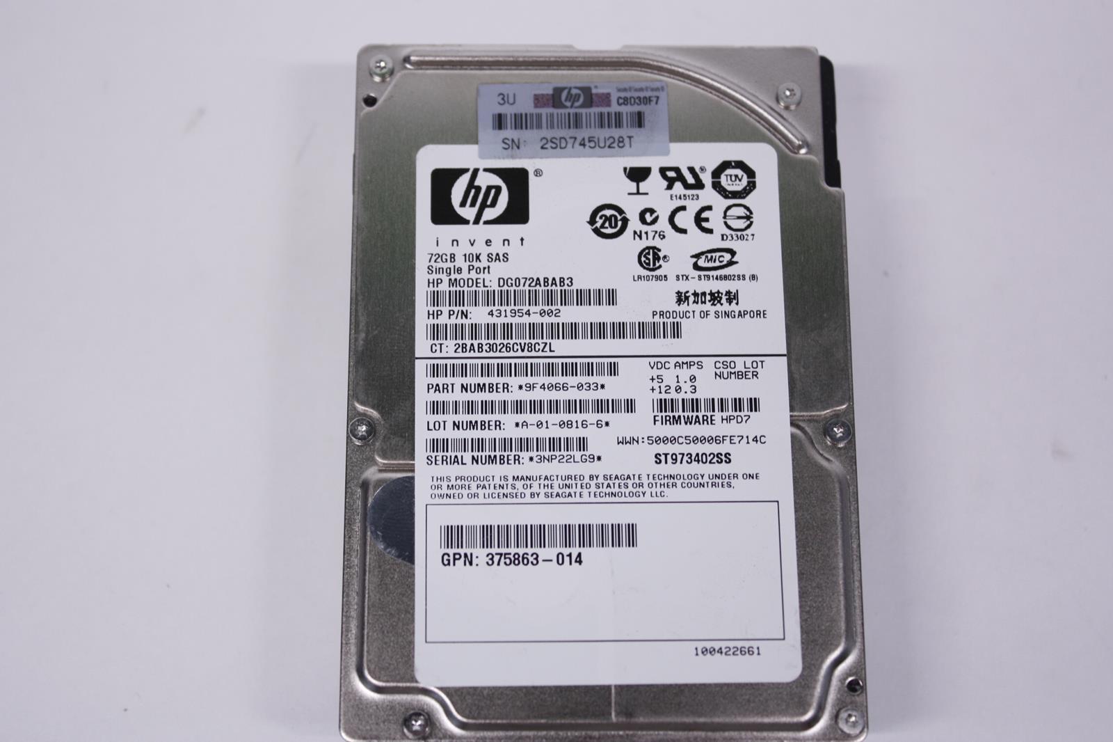 """LOT OF 2 HP 375861-B21 431954-002 72GB 10K RPM SAS 2.5/"""" HOT PLUG HDD HARD DRIVE"""
