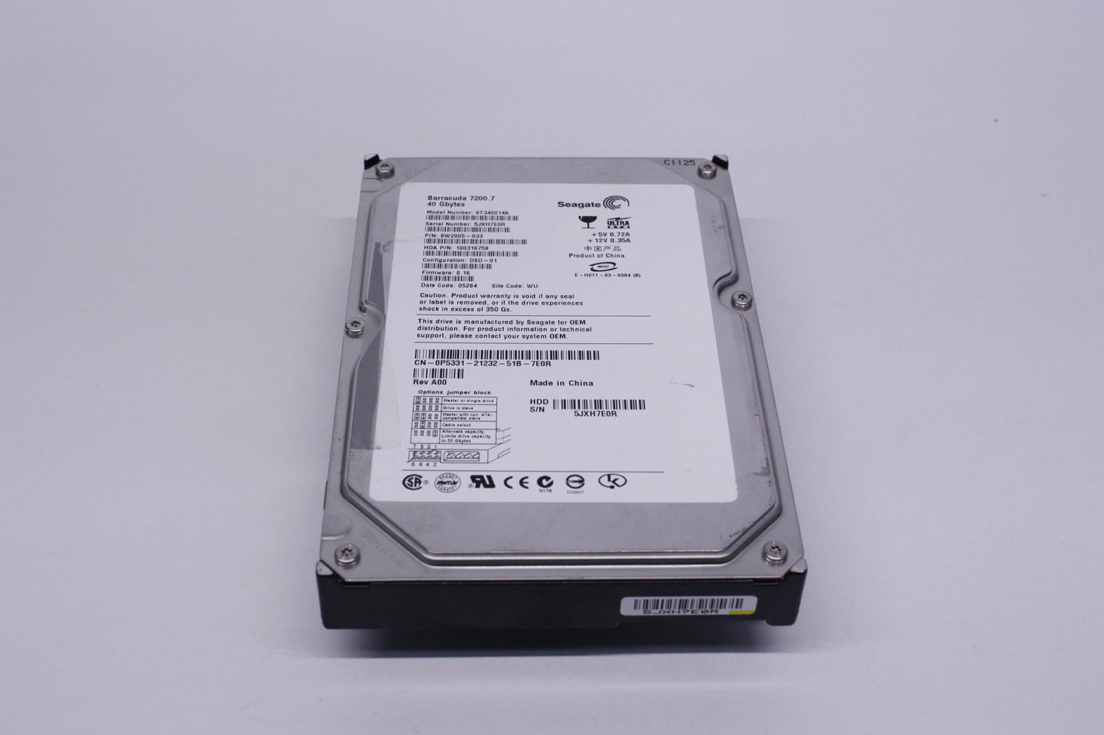 Details about DELL/SEAGATE 095331 - ST340014A 7200 7 40GB 7200RPM IDE HARD  DRIVE