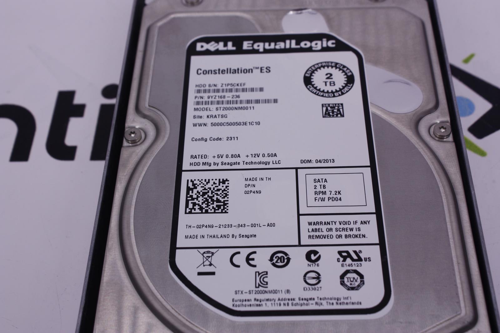 """Dell EqualLogic 2TB 7.2K  3.5/"""" SATA HDD 0948611 2T72-CES1 PS6500E PS6510E 2P4N9"""